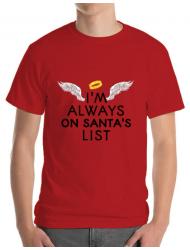 Tricou ADLER barbat Always on santa's list Rosu