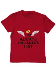 Tricou ADLER copil Always on santa's list Rosu