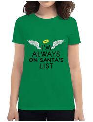 Tricou ADLER dama Always on santa's list Verde mediu