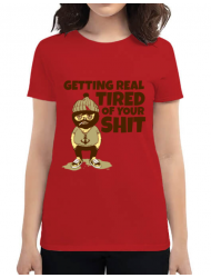 Tricou ADLER dama Tired of your shit Rosu