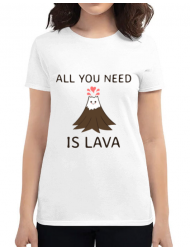 Tricou ADLER dama All you need is lava Alb