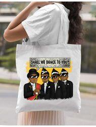 Sacosa din panza Dance meme Alb