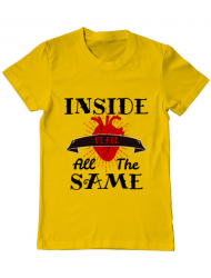 Tricou ADLER barbat Inside we're all the same Galben