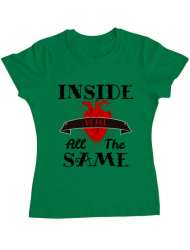 Tricou ADLER dama Inside we're all the same Verde mediu