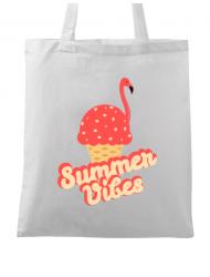 Sacosa din panza Summer Vibes Alb