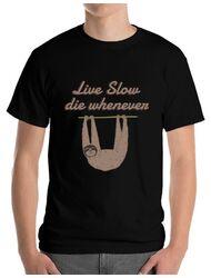 Tricou ADLER barbat Live slow, die whenever Negru