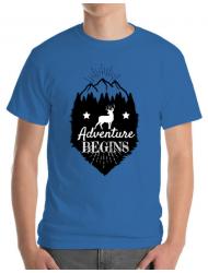 Tricou ADLER barbat Adventure Begins Albastru azuriu
