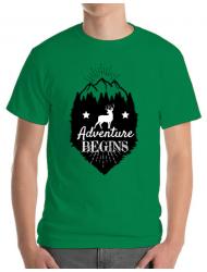 Tricou ADLER barbat Adventure Begins Verde mediu