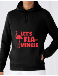 Hoodie barbat cu gluga Let's flamingle Negru