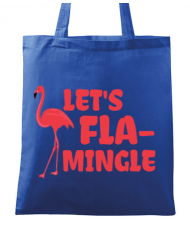 Sacosa din panza Let's flamingle Albastru regal
