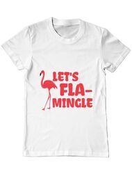 Tricou ADLER barbat Let's flamingle Alb