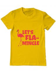 Tricou ADLER barbat Let's flamingle Galben