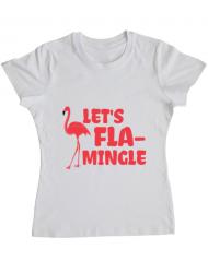 Tricou ADLER dama Let's flamingle Alb