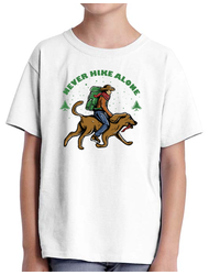 Tricou ADLER copil Man with backpack riding dog Alb