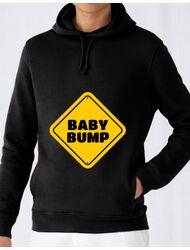 Hoodie barbat cu gluga Baby bump Negru