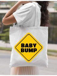 Sacosa din panza Baby bump Alb