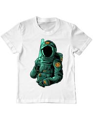 Tricou ADLER copil Astronaut holding laser sword Alb