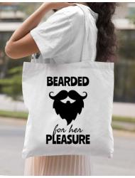 Sacosa din panza Bearded for her pleasure Alb