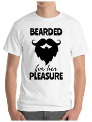 Tricou ADLER barbat Bearded for her pleasure Alb