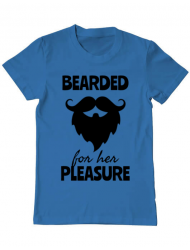 Tricou ADLER barbat Bearded for her pleasure Albastru azuriu