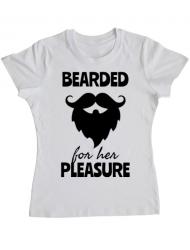 Tricou ADLER dama Bearded for her pleasure Alb