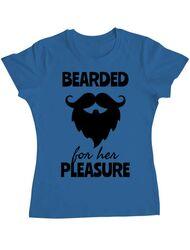 Tricou ADLER dama Bearded for her pleasure Albastru azuriu