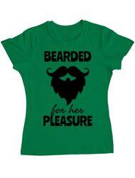 Tricou ADLER dama Bearded for her pleasure Verde mediu