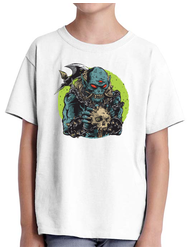 Tricou ADLER copil Blue monster with axe Alb