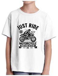 Tricou ADLER copil Just ride Alb