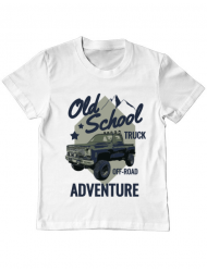 Tricou ADLER copil Off-road truck Alb