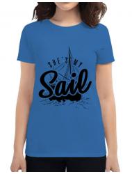 Tricou ADLER dama She s my sail Albastru azuriu