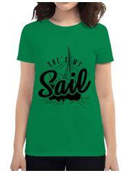 Tricou ADLER dama She s my sail Verde mediu