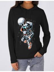 Hoodie dama cu gluga Astronaut Negru