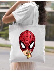 Sacosa din panza Spiderman pizza Alb