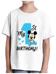 Tricou ADLER copil My first birthday Alb