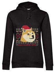 Hoodie dama cu gluga Doge christmas Negru