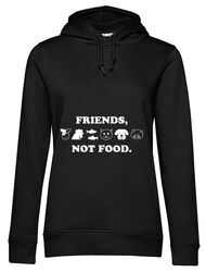 Hoodie dama cu gluga Friends not food Negru