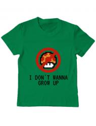 Tricou ADLER copil I dont wanna grow up Verde mediu