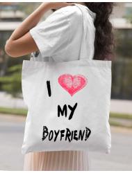 Sacosa din panza I love my boyfriend Alb