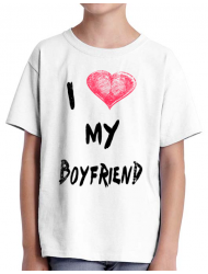Tricou ADLER copil I love my boyfriend Alb