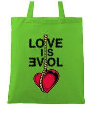 Sacosa din panza Love is evil Verde mar