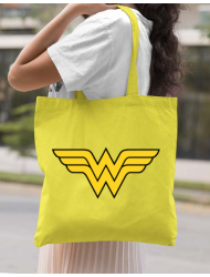 Sacosa din panza Wonder woman Galben