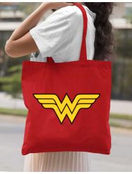 Sacosa din panza Wonder woman Rosu