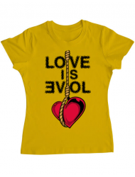 Tricou ADLER dama Love is evil Galben