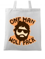 Sacosa din panza One man wolf pack Alb