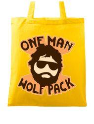 Sacosa din panza One man wolf pack Galben