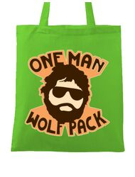 Sacosa din panza One man wolf pack Verde mar