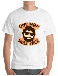 Tricou ADLER barbat One man wolf pack Alb