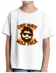 Tricou ADLER copil One man wolf pack Alb