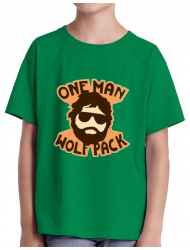 Tricou ADLER copil One man wolf pack Verde mediu